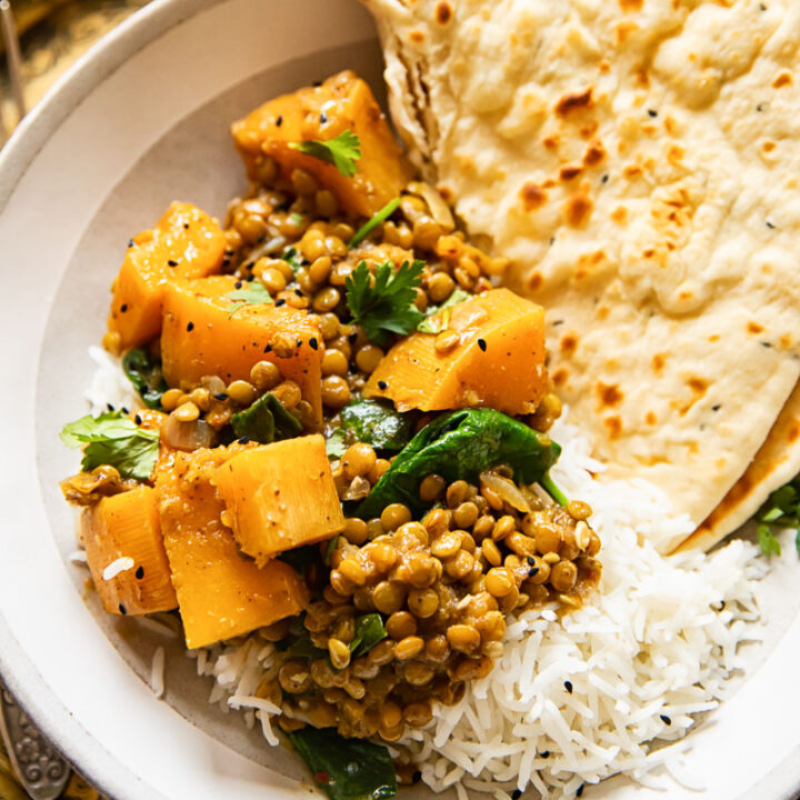 Vegan coconut lentil curry in bowl