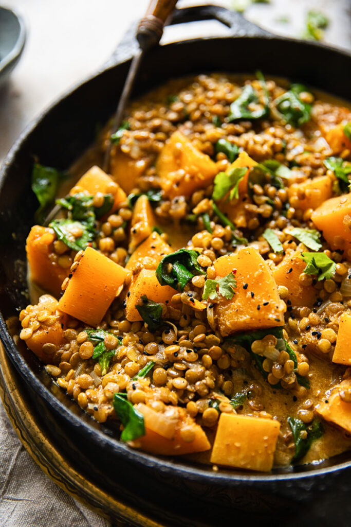 Coconut lentil curry in a pan