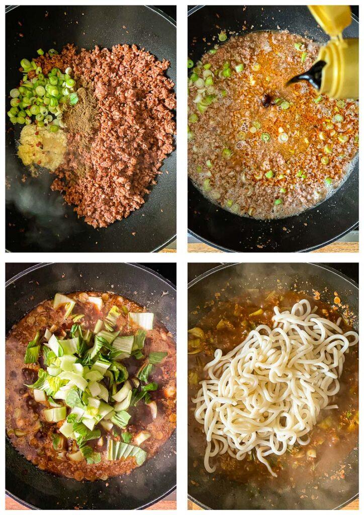 Process shot of vegan dan dan noodles in pan