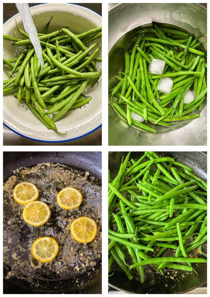 Process shots of green beans cooked, in ice water, lemons on a frying pan, and combined ingredients.