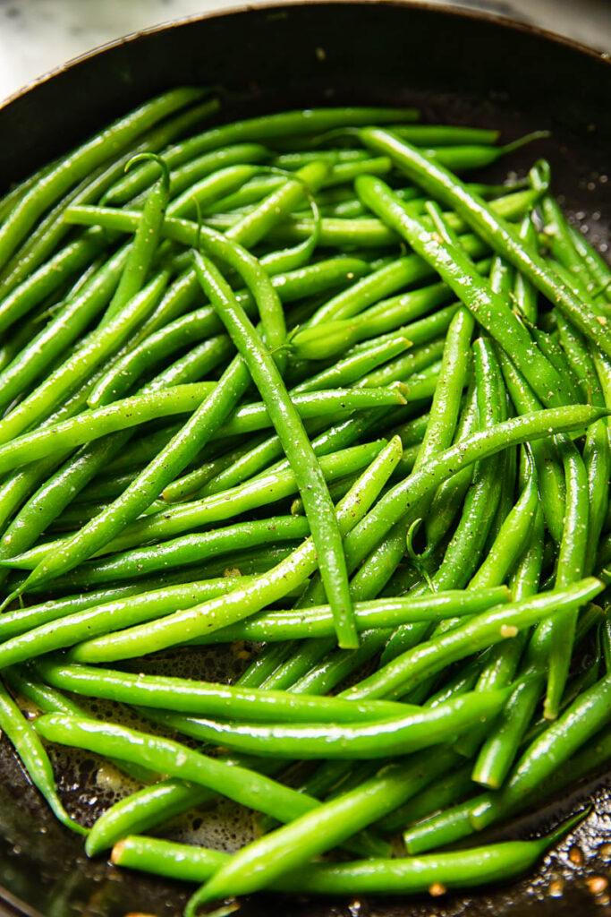 Close up shot of vivid green beans