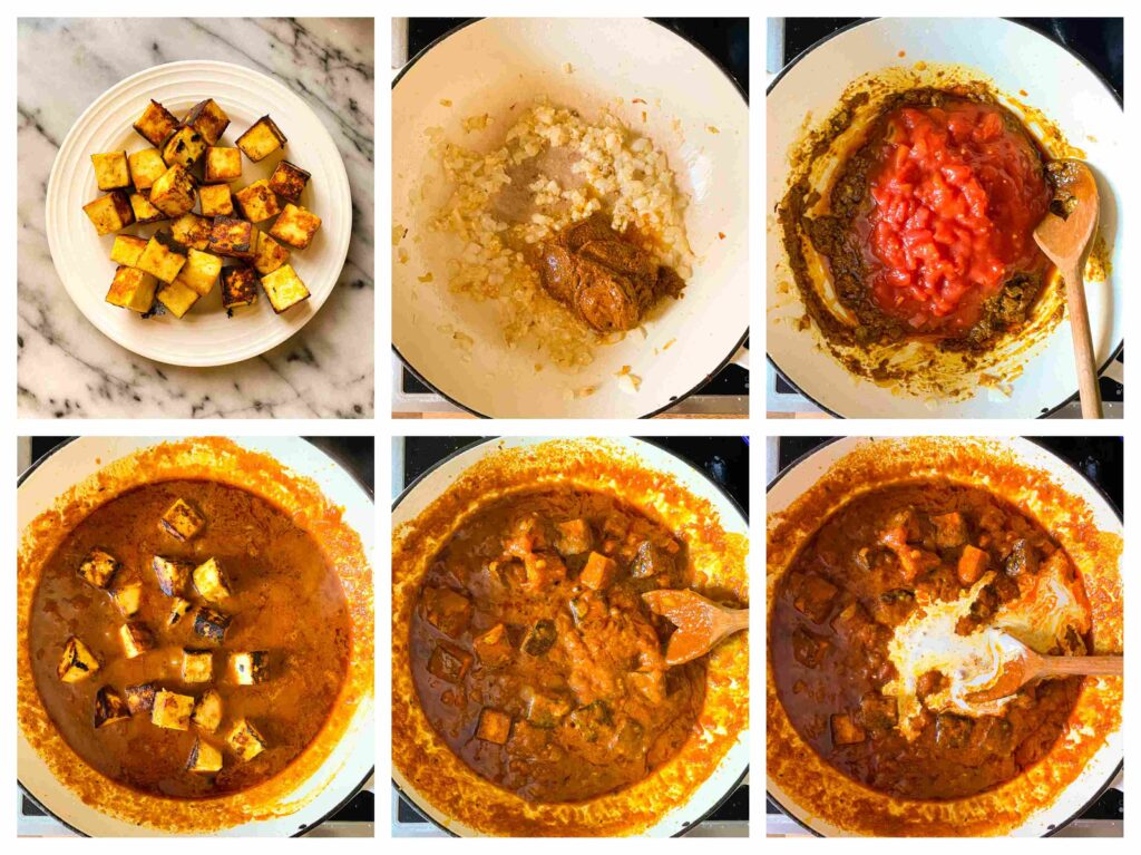 collage of six photos with the process of making paneer tikka masala