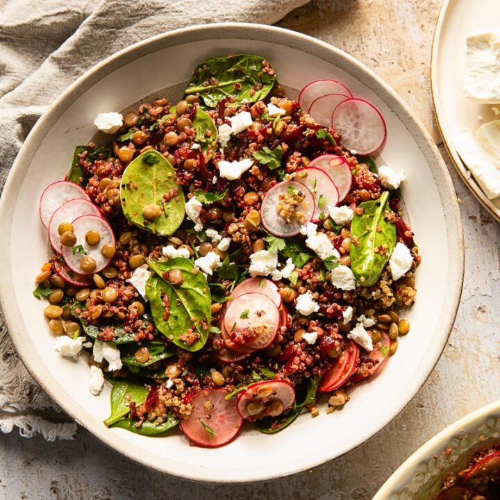 Top down of quinoa salad with lentils and beets