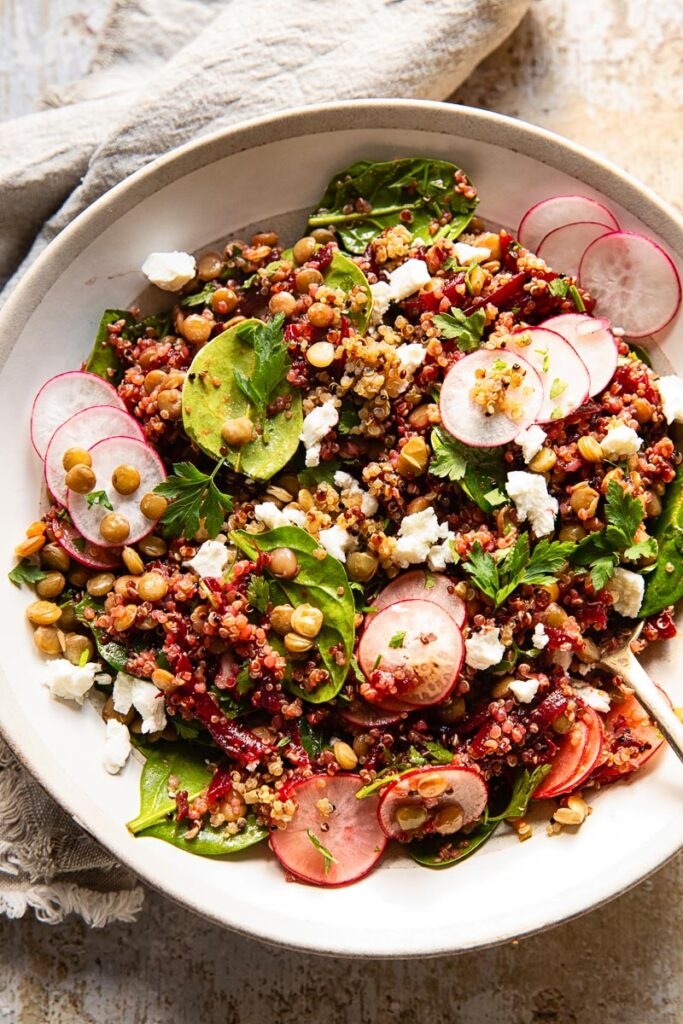 Close up of quinoa salad with lentils and beets