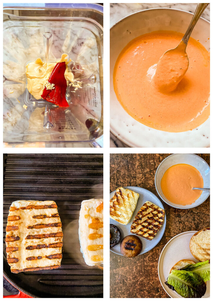 Process shot grilled halloumi burger showing making of aioli and grilling halloumi
