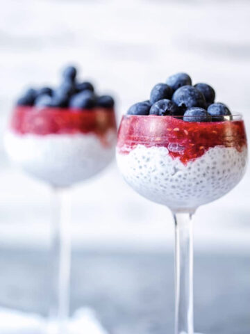 Side view of chia seed pudding showing three layers