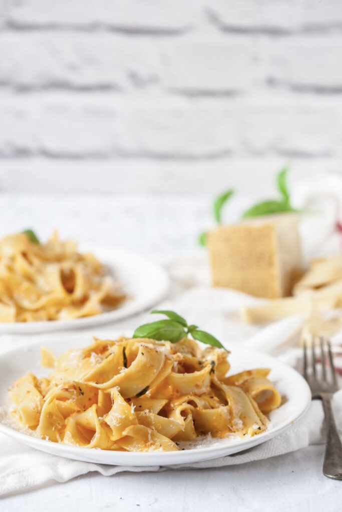 Plate of pappardelle with sin-dried tomatoes and mascarpone on a table