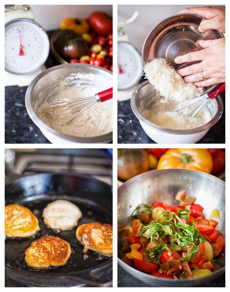 Process photographs showing mixing the batter, frying the pancakes and combining salsa ingredients
