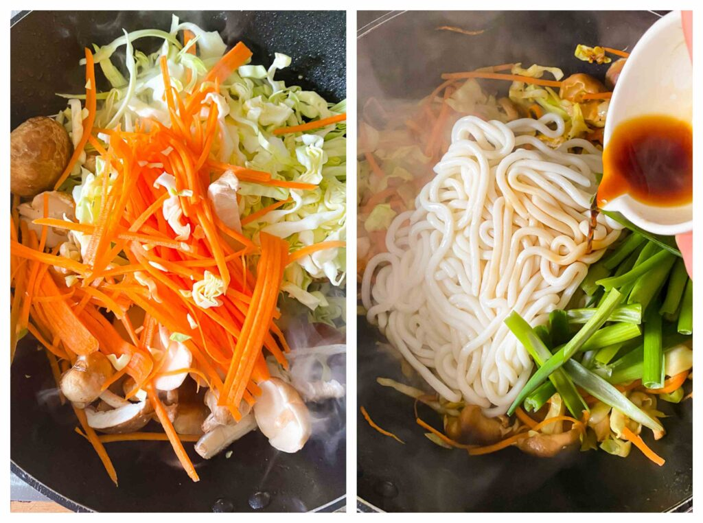 Process shots of raw ingredients in a wok, and second photo of ingredients with added noodles and sauce being poured over top