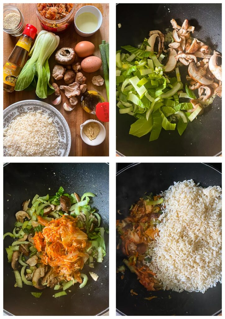 Process shots showing ingredients being brought together in a wok