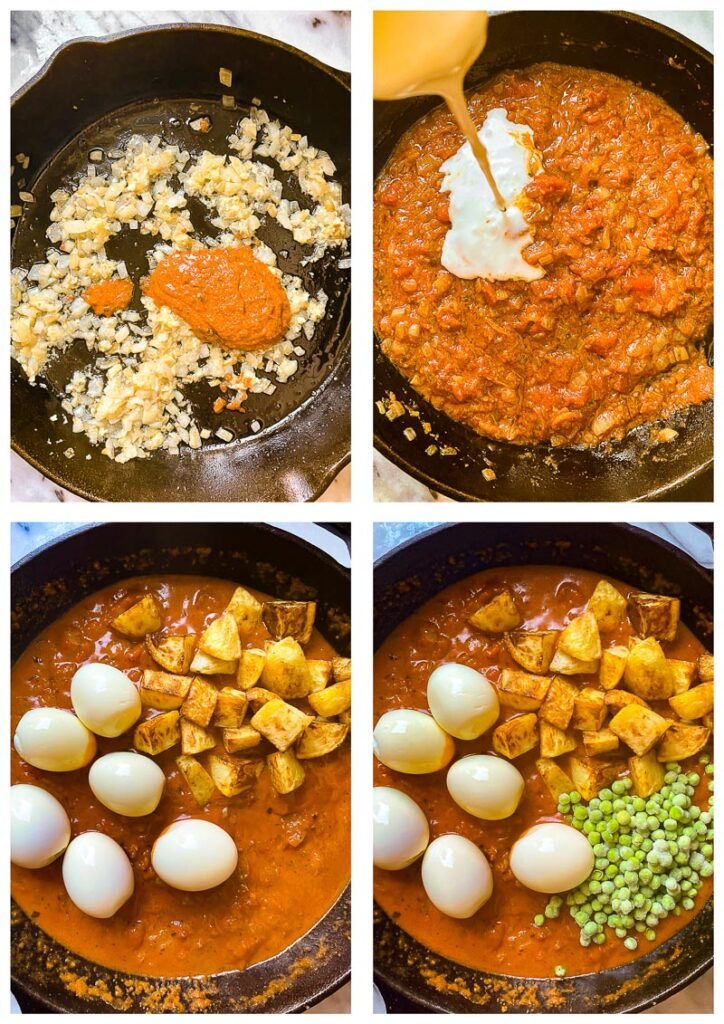 Process shots showing ingredients being added to the pan