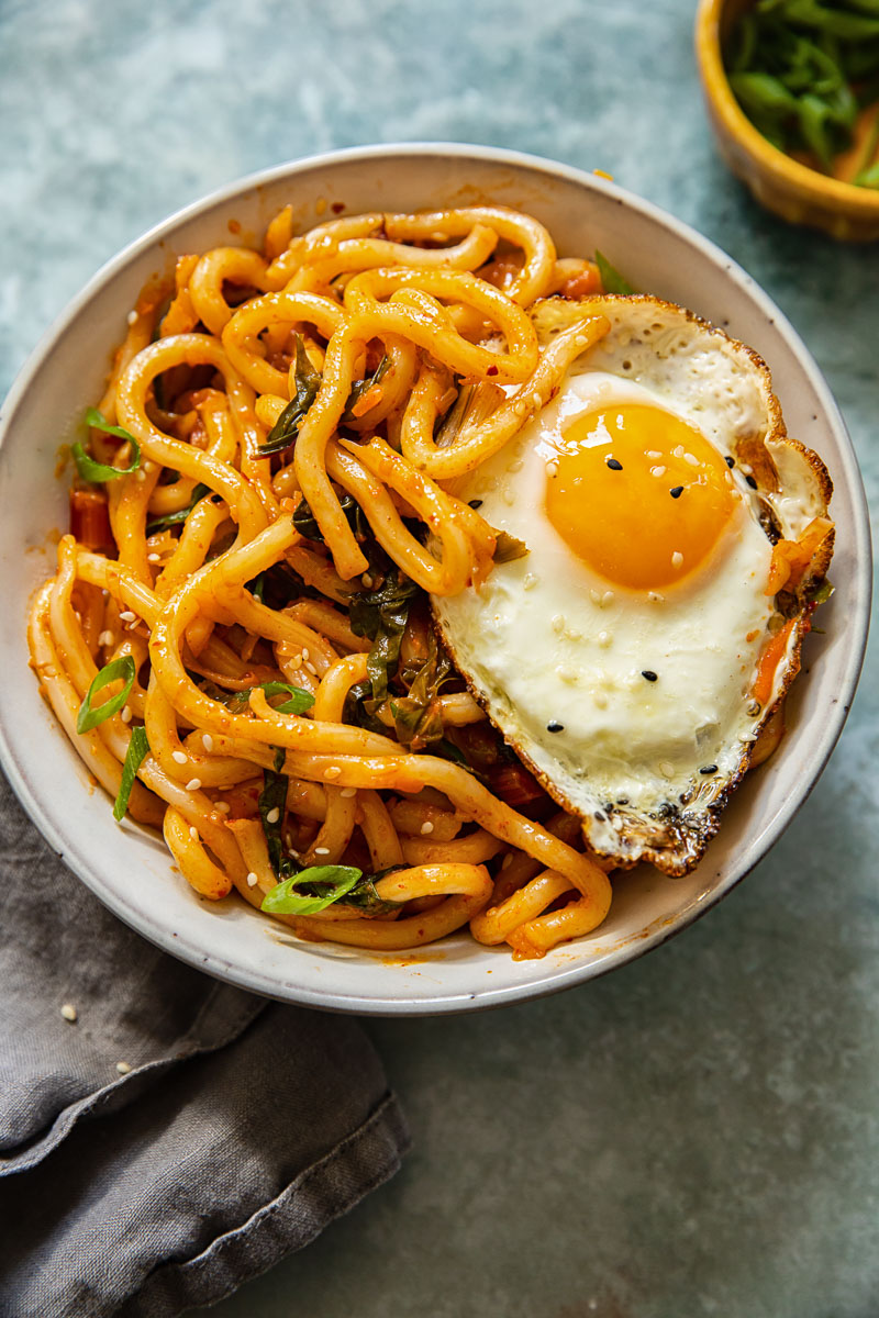 Noodles in a bowl with an egg