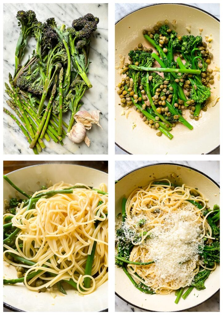 Process shots of making of lemon garlic pasta in a large pan, with ingredients added in stages