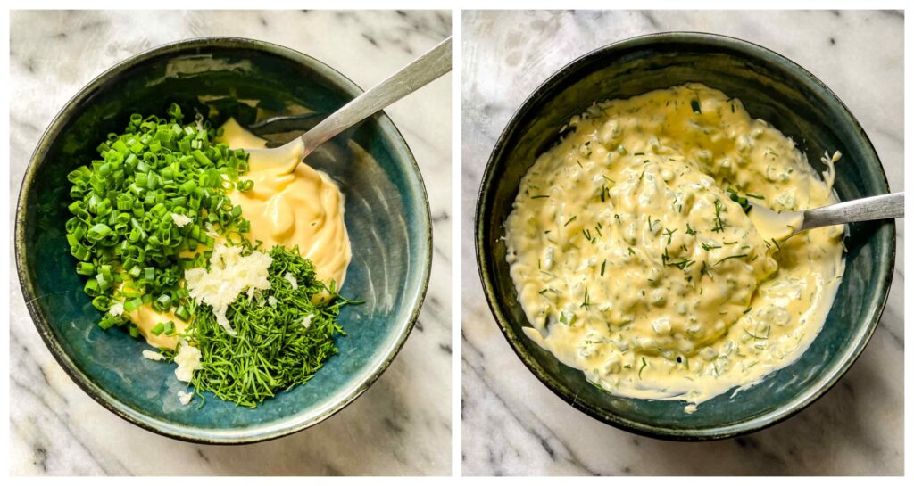 Two shots showing the bowl with the mayonnaise dressing being added and combined