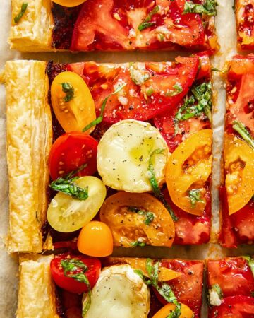 Cut pieces of the puff pastry tomato tart